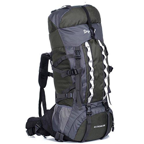 80 + 5L Groß Kapazität Outdoor Sport Bergsteigen Tasche Reisen Camping Rucksack Green
