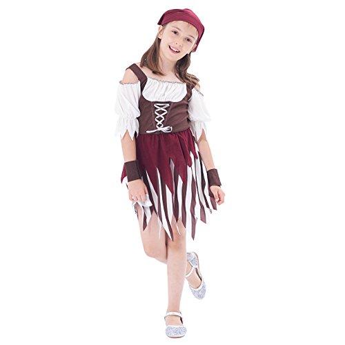 für Kinder Mädchen, Rustikale Maiden Seeräuber Schicken Kleid aus der Karibik Rover Rock (Piraten Kostüme Kleinkind Mädchen)