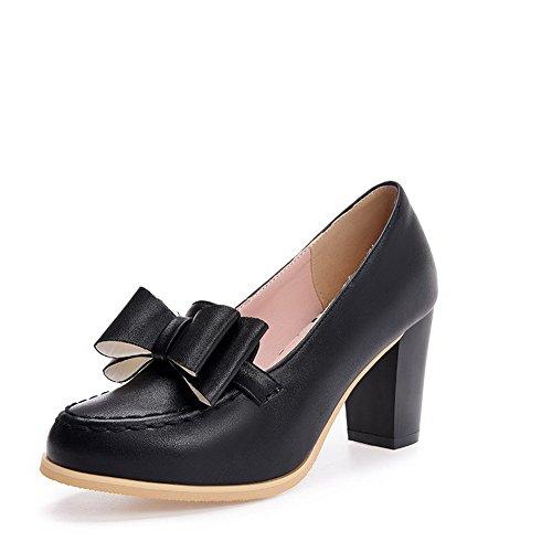 VogueZone009 Damen Rein Weiches Material Hoher Absatz Reißverschluss Rund Zehe Pumps Schuhe, Schwarz, 38