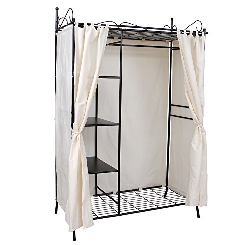 Songmics Wardrobe Clothes Cupboard Hanging Rail Storage Shelves With Metal  Frame And Cover 108 X 170 X ...
