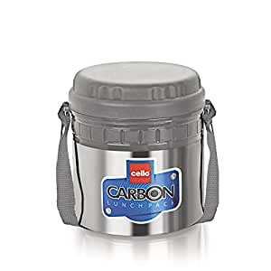 Cello Carbon Insulated 2 Container Lunch Carrier, Grey