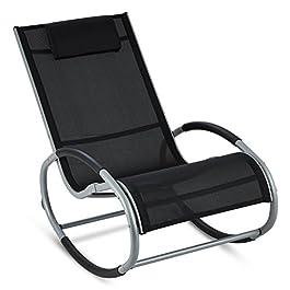blumfeldt Retiro – Fauteuil à Bascule Relaxant en Aluminium Rocking Chair avec Coussin appuie-tête (Protection…