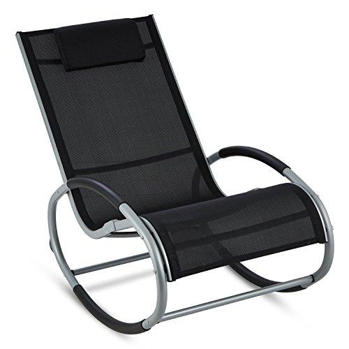 Blumfeldt Retiro - Fauteuil à Bascule Relaxant en Aluminium Rocking Chair avec Coussin appuie-tête (Protection Caoutchouc sur accoudoirs, Surface Polyester résistante) - Noir