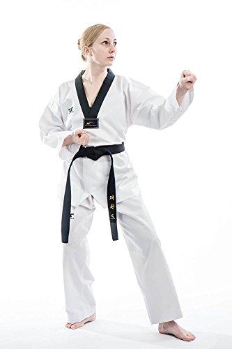 Taekwondo Anzug Tusah - TKD Dobok - Oberteil mit schwarzem Revers - Kampfsportanzug durch den World Taekwondo Verband zugelassen