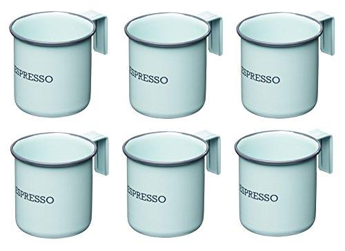 Kitchencraft Living Nostalgia tazas de espresso, 75ml (2.5Fl Oz) (Juego de 6), esmalte, Vintage azul, 7x 5x 5cm