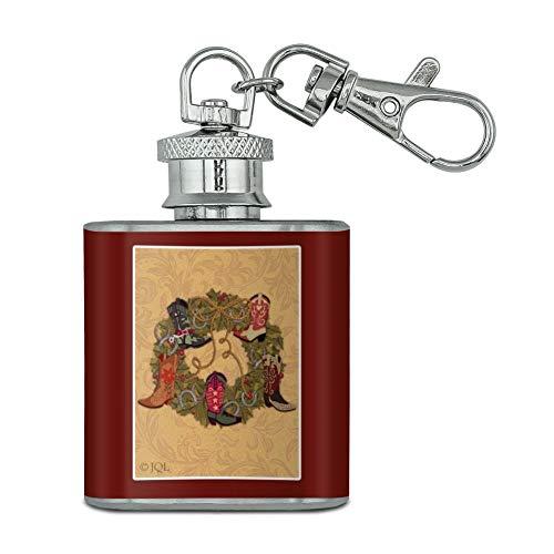 Vacances de Noël Couronne de démarrage Cowboy Horshoes Western en acier inoxydable 28,3 gram Mini Bouteille Porte-clés