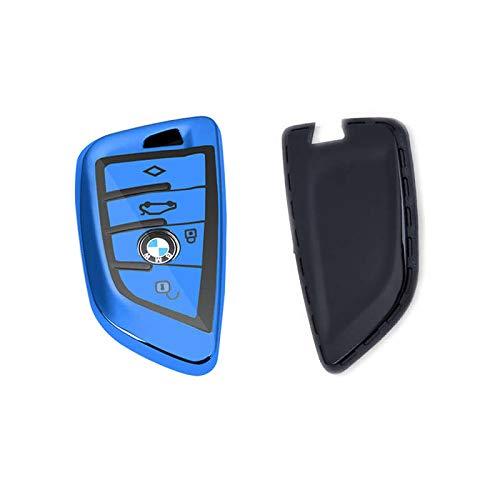 Auto-Fernbedienungsschlüssel Hülle für BMW 2018, 5er-Serie, X5, X6, X1, 1er-Serie, 2er-Serie, Coach, 7er-Serie, weiche TPU-Schutzhülle mit Schlüsselanhängertasche, blau (Bmw Remote Start)