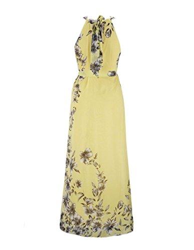 Minetom Femme Ete Longue Maxi Floral Imprimé Robe Sans Manches Epaule Nu Robe de Soirée Robe de Party Cocktail avec Ceinture Jaune