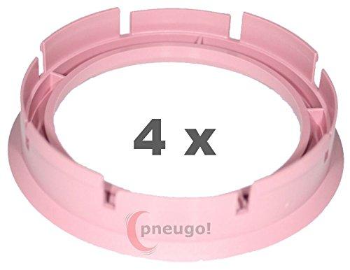 4 x Zentrierringe, Kunststoff 72.6mm auf 57.1mm rosa