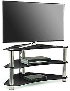 Centurion gt7 meuble tv d 39 angle contemporain en verre noir pour crans pl - Meuble tv d angle contemporain ...