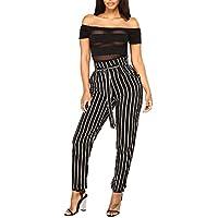 Gusspower Pantalones Elegantes para Mujer,Rayas Cintura Alta Casual Tallas Grandes Moda Bowknot Correa de Leggings Otoño e Invierno