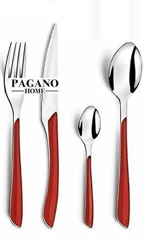 Service couverts modèle Genny Rouge 48 pièces pour 12 places Table/personnes en acier inoxydable Lavable en lave-vaisselle Cuillère Couteau Fourchette Cuillère
