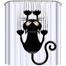 NIBESSER Cortina de Baño Tejido Resistente al Moho 3D Digital Impresión Dibujos Animales Flamenco Elefante Infantil Cortina Accesorios de Ducha Bañera con 12 Ganchos, 180cmx180cm (Gato)