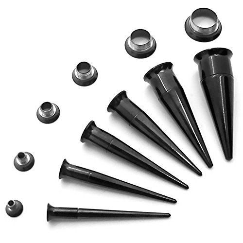 1 Stück oder 1 Set 2in1 Double Flared Dehnstab Schwarz Tunnel Dehnungsstab Plugs Dehnset Tunnelset Stahl Piercing, Farbe:schwarz - Set 3-10mm