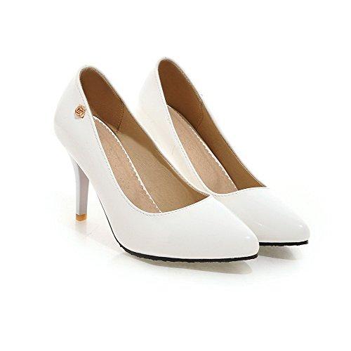 AgooLar Damen Spitz Zehe Hoher Absatz Lackleder Rein Ziehen Auf Pumps Schuhe Weiß
