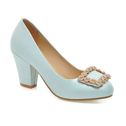 VogueZone009 Femme Tire Rond à Talon Haut Couleur Unie Chaussures Légeres Bleu