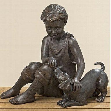 Figur Kinderfigur Junge Mädchen rost Kunstharz (Junge)