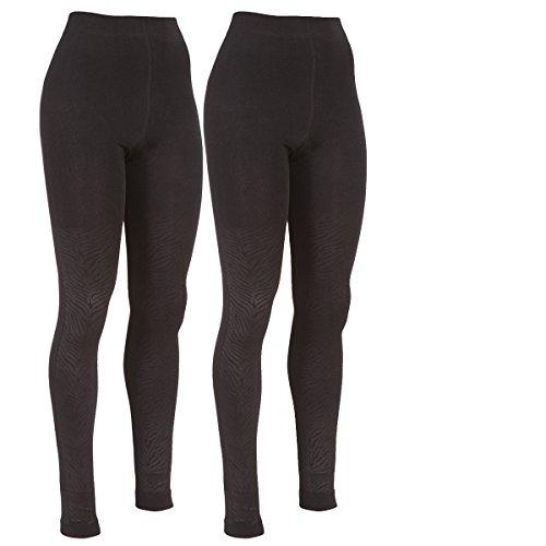 Damen Thermo-Leggings ,2er Pack,schwarz,superweich, dick und warm Schwarz mit Struktur