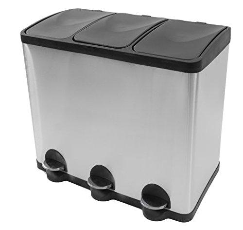 Mülleimer Küche Mülltrennung mit Inneneimer (60 Liter) - Mülltrennungssystem - Coninx Steeldesign Küche mülleimer 3 fächer - Treteimer Edelstahl 3* 20 L - Geruchsdichter Edelstahl Abfalleimer Abfallbehälter - Design Trennsystem von Steeldesign