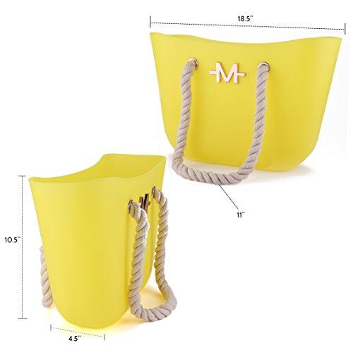 Marino Borsa Da Spiaggia Donna Nuoto A Secchiello Con Zip Stile Di Lusso E Manici In Corda Intrecciata Mano Grande Silicone Resistente Impermeabile Yellow