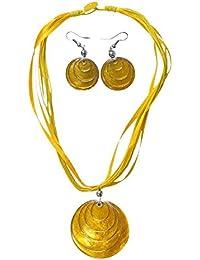 Set aus Hals-Kette und Ohrringen mit Muschel-Anhänger in vielen verschiedenen Farben, Farbe:gelb