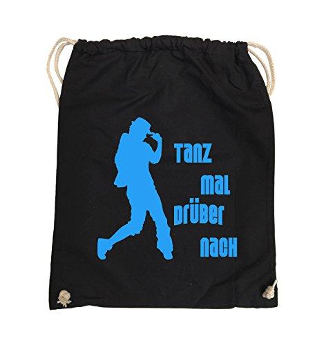 Comedy Bags - TANZ MAL DRÜBER NACH - FIGUR - Turnbeutel - 37x46cm - Farbe: Schwarz / Silber Schwarz / Blau