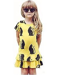 Vestido de niña, RETUROM La manera de los cabritos de la muchacha que el gato negro imprimió la ropa corta del vestido de la manga
