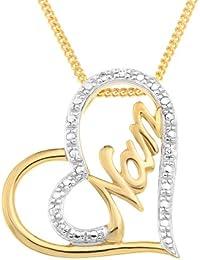 Ornami Gold Plated Silver CZ Heart Shape 'Love' Message Pendant 46cm Chain