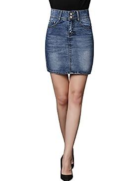 16c51480d4 Falda Vaquera De Mujer Cintura Alta Elasticidad Slim Falda Corta De  Mezclilla