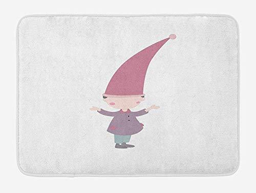 Juziwen Kids Bath Mat, Little Cartoon GNOME Character Illustration with a Big Pink Hat Standing Under Rain, Plush Bathroom Decor Mat with Non Slip Backing,Multicolor 60x40cm -