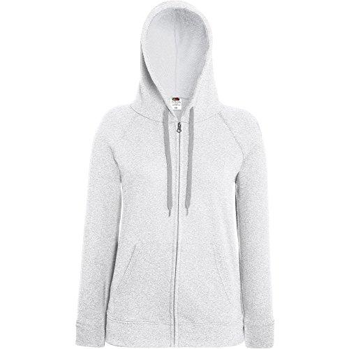 Fruit Of The Loom Ladies Lady Fit Full Zip Hooded Sweatshirt Heather Grey