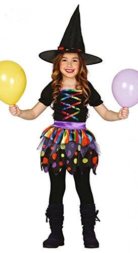 (shoperama Kleine Hexe Kinderkostüm Schwarz/Bunt für Mädchen inklusive Hut Zauberhexe Hexenkostüm, Größe:152 - 10 bis 12 Jahre)