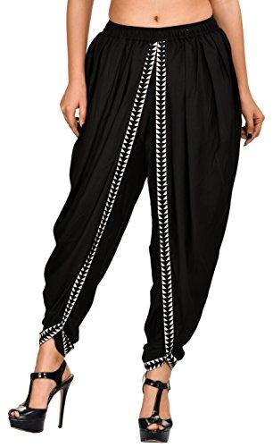 Khazana Basics Women's Rayon Dhoti Pants (JTDH32, Black, XL)