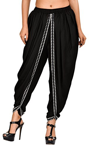 Elegant and Classic Black Color Rayon Dhoti Pant, Patiala Dhoti Salwar for Women, Girls from Khazana Basics (JTDH32, Black, L)