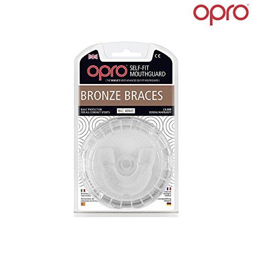 Ortodoncia Protector Bucal OPRO Self-Fit GEN 3 Bronze - Protector bucal para portadores de aparatos dentales - Para rugby, hockey, artes marciales mixtas, lacrosse, fútbol americano, baloncesto y más - Fabricado en Reino Unido(Blanco)