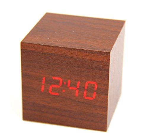 Raylinedo última diseño Fashion madera cubo Mini palabras de madera LED Digital reloj despertador–Visualización de tiempo temperatura FECHA–Voz y toque activado, Brown Clock,Red Words, 1XSET(60mm)