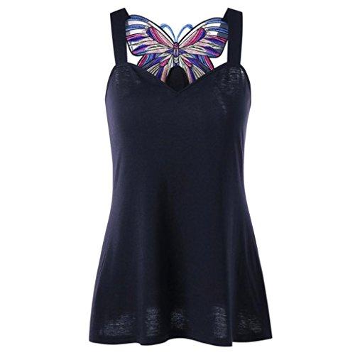 MOIKA Damen Tank Tops, Lady Summer Butterfly Applizierte Sweetheart Neck Tank Top Ärmelloses Weste Shirt (S, Schwarz) (Butterfly Top Shirt Tank)