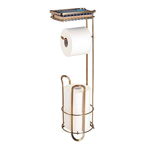 mDesign Portarrollos de pie para baño – Accesorios de baño sin taladro –  Soporte para papel 139e169163bf