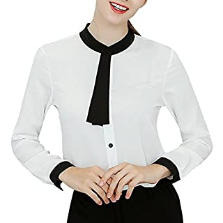 Anyu Blouse Women's Button Down Wild Trend Chiffon Shirts White M