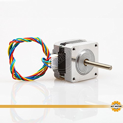 ACT MOTOR GmbH 1PC 16HSL3404 Nema16 Linear Stepper Motor Bipolar 32mm Body 21Ncm Torque 4Wire 320mm Cable 0.4A with 1.8° 12V for Robot CNC Through Lead Screw