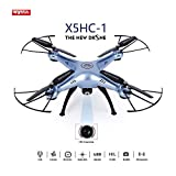 OCDAY Syma X5HC-1 Drone con Cámara HD Versión Actualizada de X5C 2.4GHz 4CH 6-Axis Gyro con Función de Estabilización de Altitud, Modo sin Cabeza y Rotación de 360° (Azul)