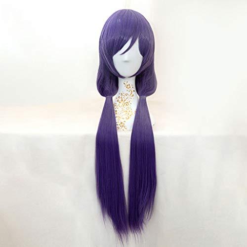 KHJK Haarstyling LoveLive! (Tojo Nozomi) Anime Cosplay Rose Net Perücken mit Pony 100% hochtemperaturbeständige Faser Ombre Dunkelviolett Langes Haar Gerade Glatt Saloneinrichtung