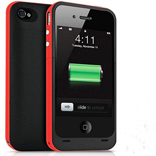 Ultra ® edición negro y rojo 2500 mah casos de banco de potencia para Iphone 5 y 5s modelos recargable cerca montaje de batería de respaldo iOS10 caso slim (negro con un borde rosado) a prueba de golpes