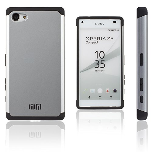 Lilware Angular Armor Plastica Dura Custodia per Sony Xperia Z5 Compact. Robusta Doppio Strato Protettiva Cover. Nero / Argento Colore