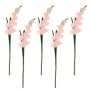 LOVIVER 5X Simulación Artificial Gladiolo Flor Tallo Boda Decoración para El Hogar De Color Rosa Claro