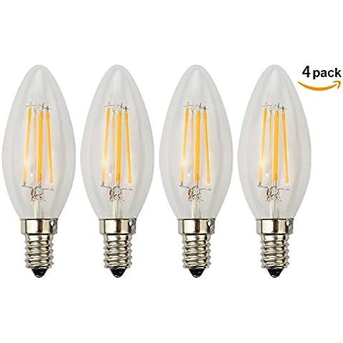 xinban regulable 4unidades E14filamento 4W Vela Bombilla LED blanco cálido 360° Lámpara Foco Filamentos (Punta) [Clase energética A