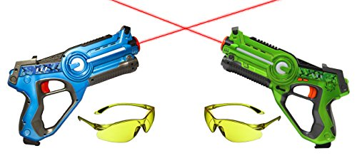 Impulse Laser Battle Set Sonder-Edition mit 2 AGETECH® SuperView Brillen (blau/grün)