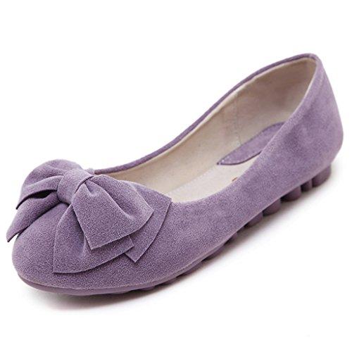 Fortuning's JDS chaussures à semelle souple / à tête ronde douce bowknot Casual Flat Bean Femmes Violet