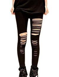 Finejo Bohai Womens Cut Out Ripped Punk Skinny Pants Hollow Trousers Black Pencil
