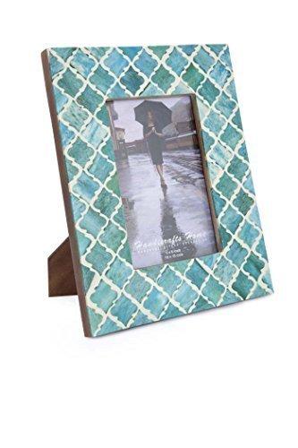 Cornice Foto Moorish Damasco Morocchino Arts Ispirato Fatto A Mano Colori Naturali Osso Montature Foto Misura 12.7x17.8cm - Verde, 5_x_7_inches